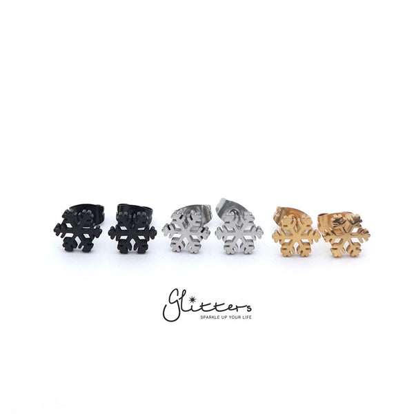 Stainless Steel Snowflake Stud Earrings-Silver | Gold | Black