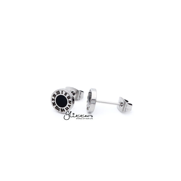 Stainless Steel Roman Numeral Stud Earrings