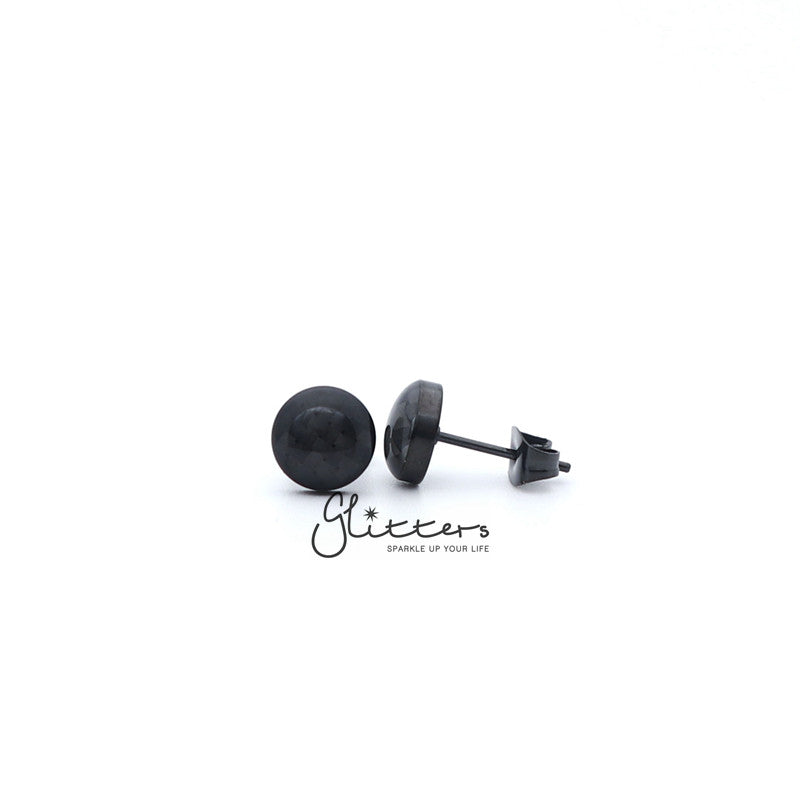 Stainless Steel Round Grids Checkerboard with Carbon Fiber Stud Earrings-Silver | Gold | Black-Glitters-New Zealand
