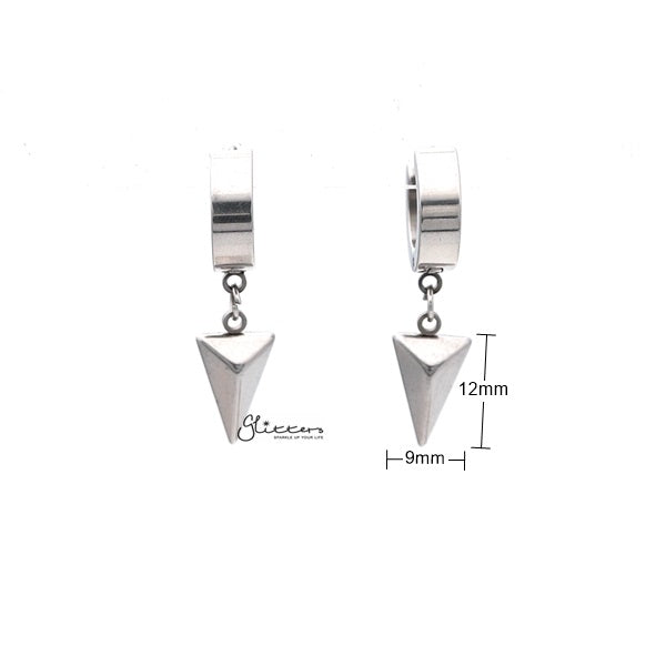 Stainless Steel Drop Triangle Huggie Hoop Earrings - Glitters-New Zealand