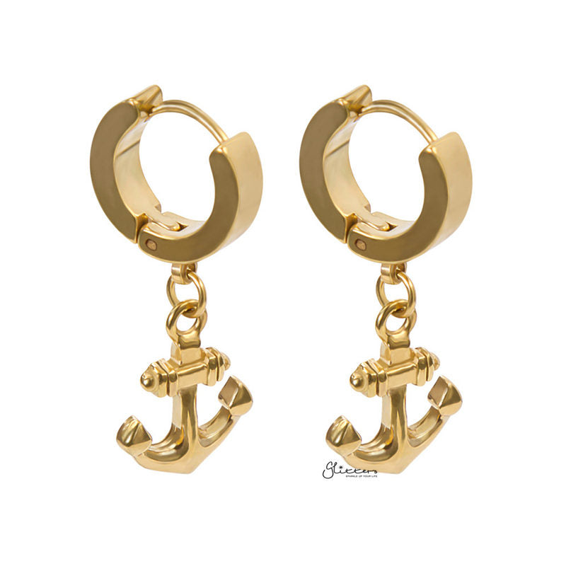 Anchor Dangle Huggie Hoop Earrings - Gold-Earrings-Glitters