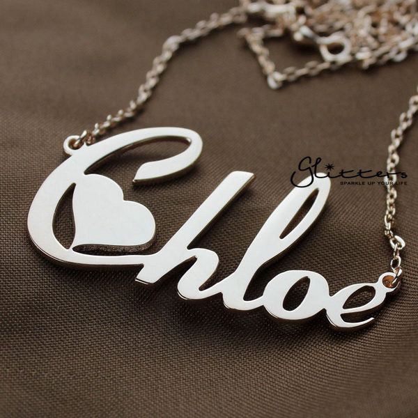 Personalized Sterling Silver Name Necklace-Heart Font-Glitters