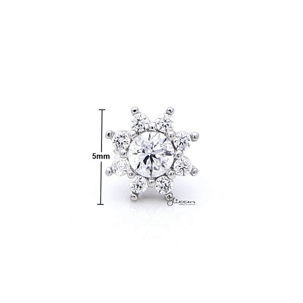 C.Z Flower Cartilage Tragus Barbell - Ball End | Flat Back-Tragus Barbell-Glitters