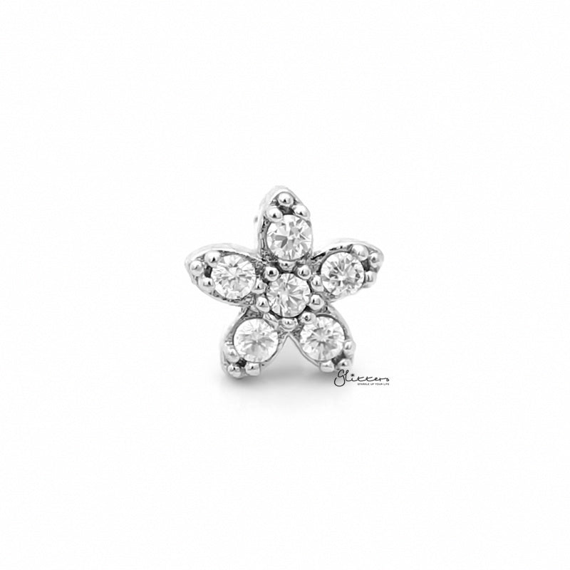 C.Z Flower Tragus Barbell - Ball End | Flat Back-Tragus Barbell-Glitters
