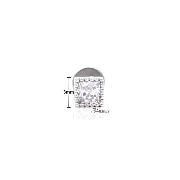 C.Z Square Cartilage Tragus Barbell - Ball End | Flat Back-Tragus Barbell-Glitters
