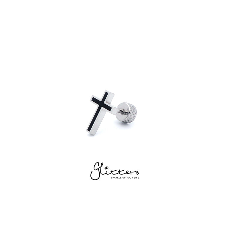 Stainless Steel Cross Fake Plug-Glitters
