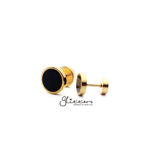 18K Gold I.P over Stainless Steel Men's Round Fake Plug with Black Center-6mm | 8mm | 10mm-Glitters