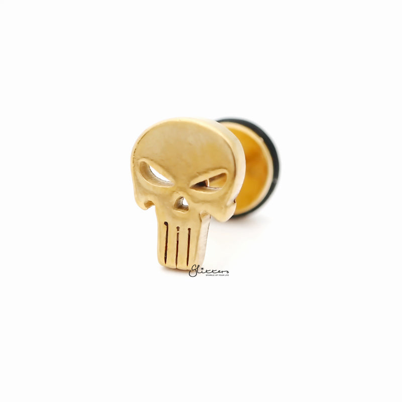 Punisher Skull Fake Plug Earring - Gold-Fake Plugs-Glitters