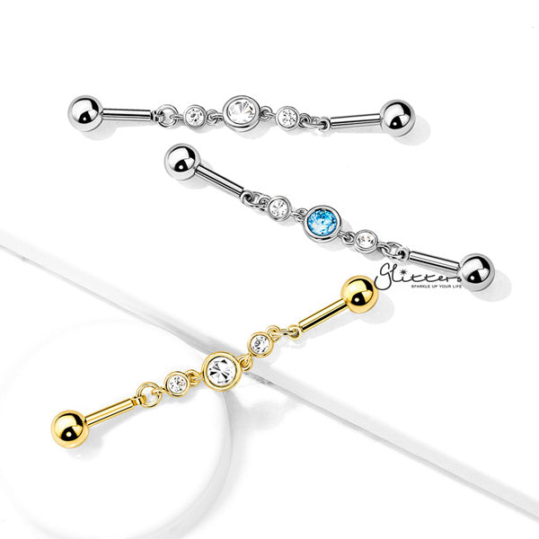 316L Surgical Steel Triple Round CZ Chain Industrial Barbell-Glitters-New Zealand