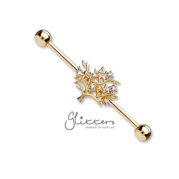 Surgical Steel Industrial Barbells with Multi CZ Set Life of Tree-Rose Gold-Glitters
