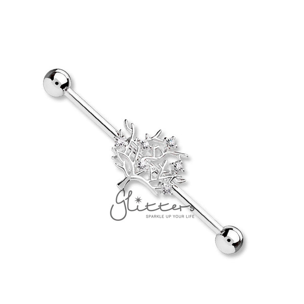 Surgical Steel Industrial Barbells with Multi CZ Set Life Tree Center-Glitters