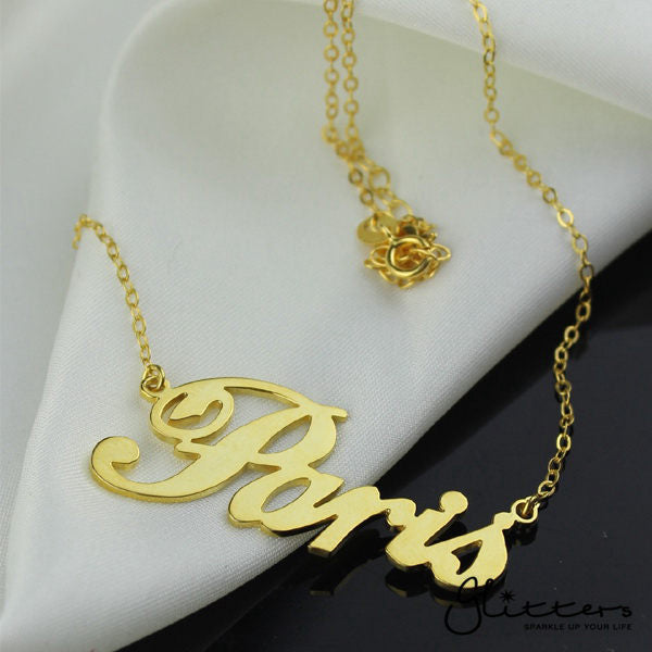 Personalized 24K Gold Plated Sterling Silver Name Necklace-Script 6-Glitters-New Zealand