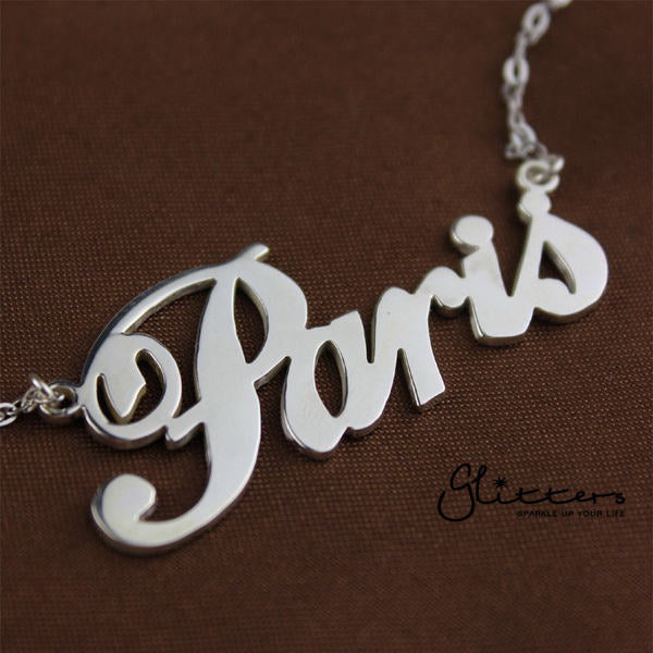 Personalized Sterling Silver Name Necklace - Font 6-Glitters