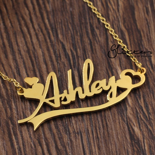 Personalized 24K Gold Plated over Sterling Silver Name Necklace with Decoration-Glitters-New Zealand
