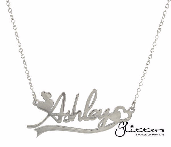 Personalized Sterling Silver Name Necklace with Decoration-Glitters
