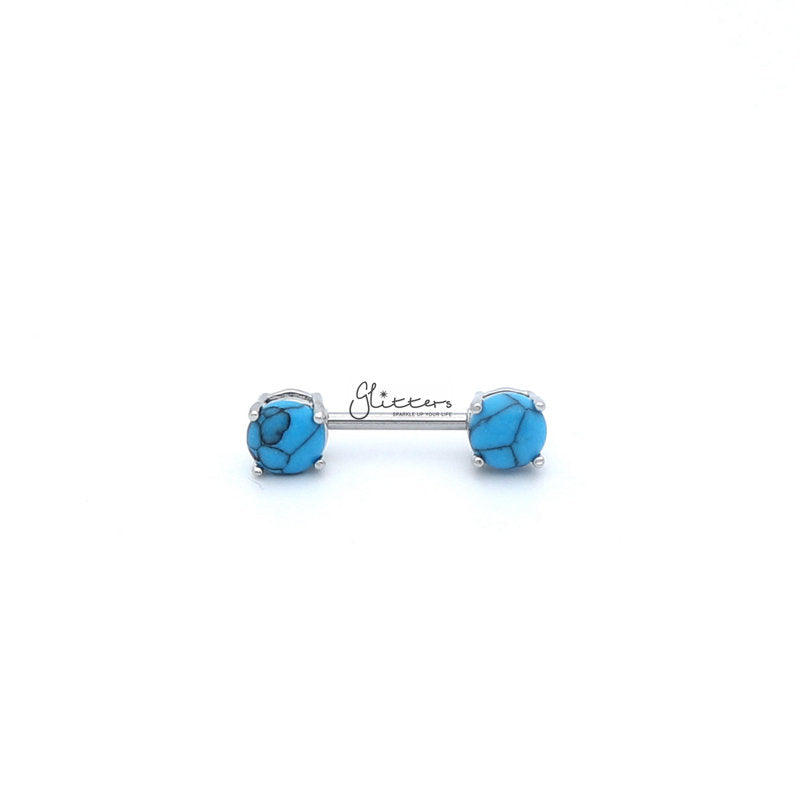316L Surgical Steel Nipple Bar Rings with Turquoise Stone Prong Set Ends-Glitters-New Zealand