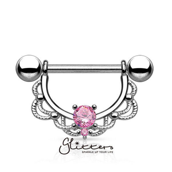 CZ Centered Filigree Drop 316L Surgical Steel Nipple Rings-Glitters-New Zealand