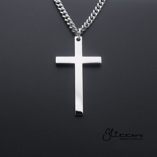 Stainless Steel Plain Cross Necklaces - Silver | Gold | Black-Glitters-New Zealand