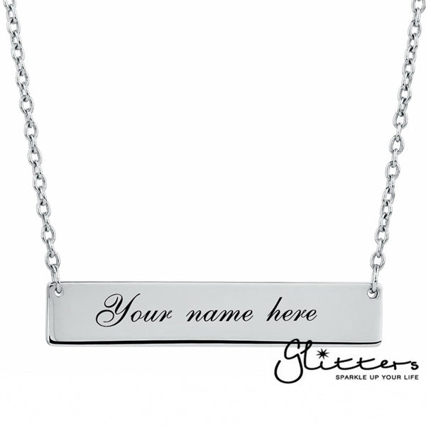 Personalized Sterling Silver Horizontal Name Bar Necklace - Large-Glitters-New Zealand