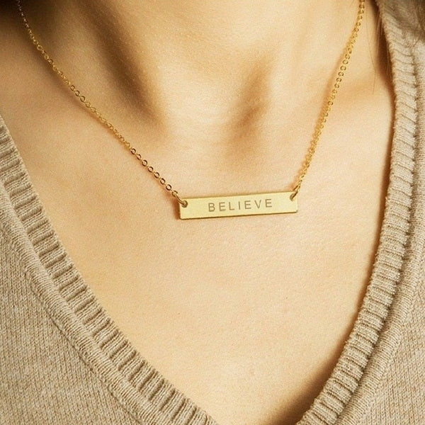 Personalized 24K Gold Plated Sterling Silver Horizontal Name Bar Necklace - Medium-Glitters
