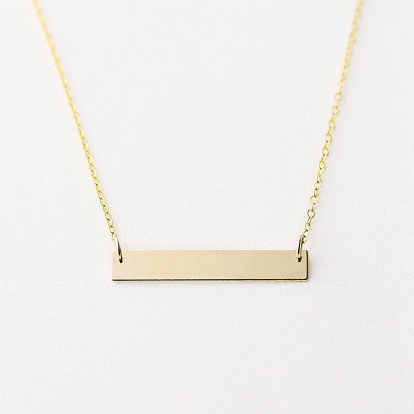 24K Gold Plated over Sterling Silver Horizontal Bar Necklace-Large-Glitters-New Zealand
