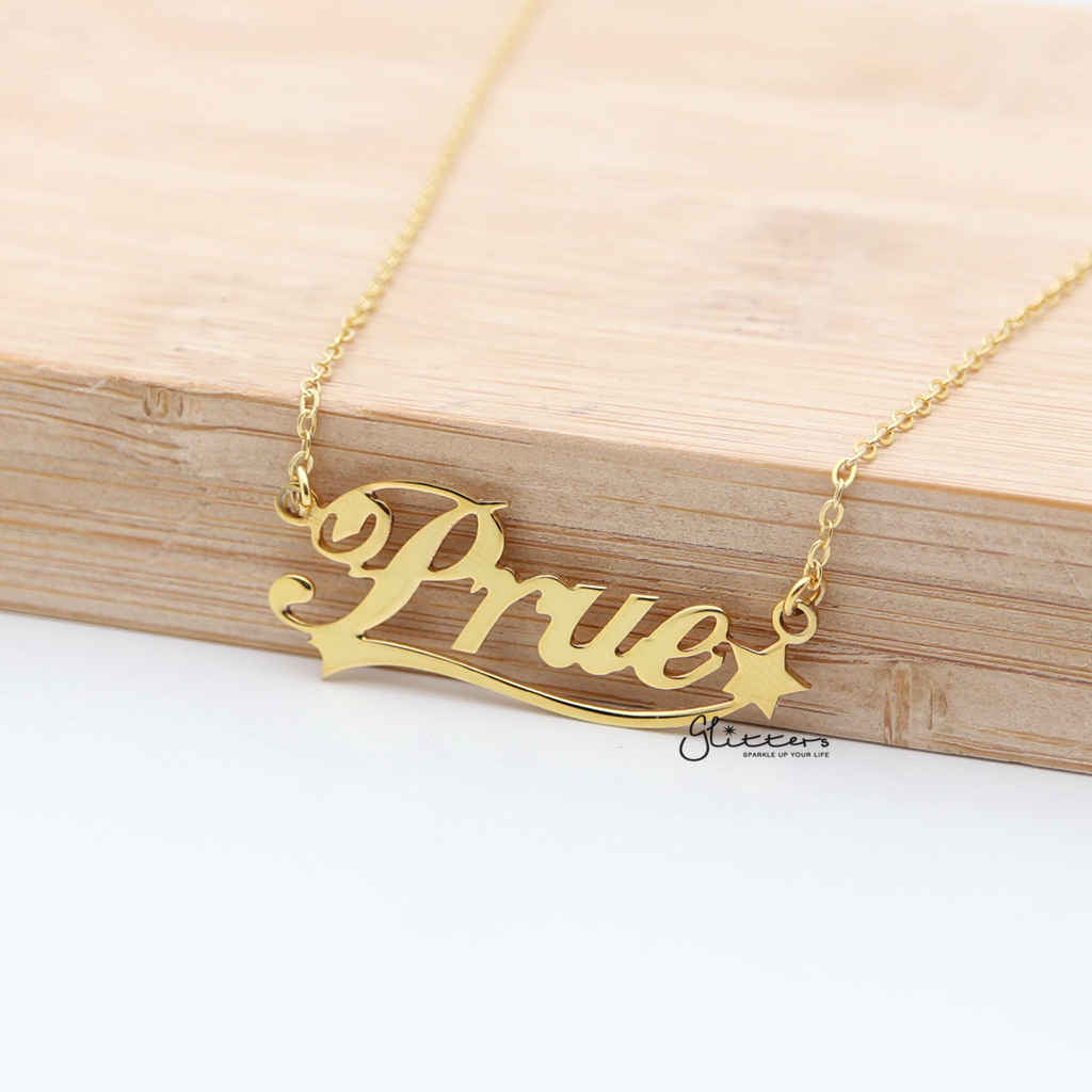 86f8bc88f070a7 Personalized 24K Gold Plated over Sterling Silver Name Necklace with  Decoration