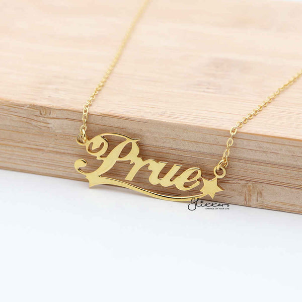 Personalized 24K Gold Plated over Sterling Silver Name Necklace with Decoration