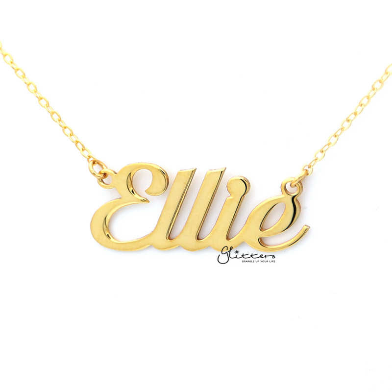 Personalized 24K Gold Plated Sterling Silver Name Necklace-Script 1-Glitters-New Zealand