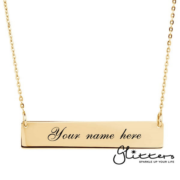 Personalized 24K Gold Plated Sterling Silver Horizontal Name Bar Necklace - Large-Glitters