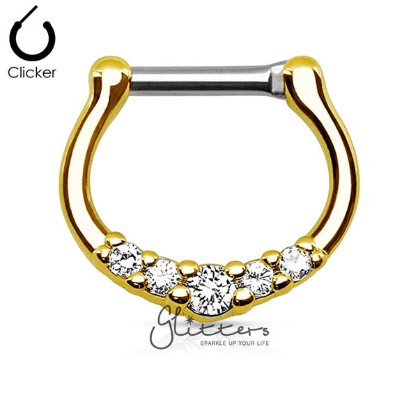 18K Gold Ion Plated Surgical Steel with 5 Clear C.Z Septum Clicker Ring-Glitters-New Zealand
