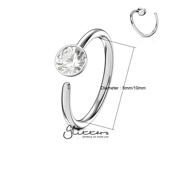 20 Gauge Surgical Steel Single Clear Gem End Bendable Nose Ring-Glitters-New Zealand