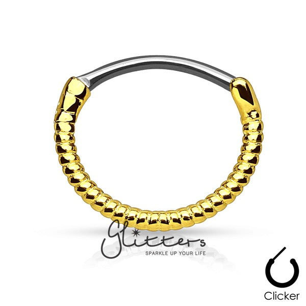 Twisted Roped Line 316L Surgical Steel Round Septum Clicker-Gold-Glitters