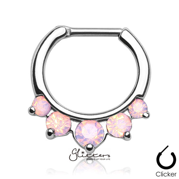 316L Surgical Steel Five Pronged Opalites Septum Clicker-Pink-Glitters-New Zealand