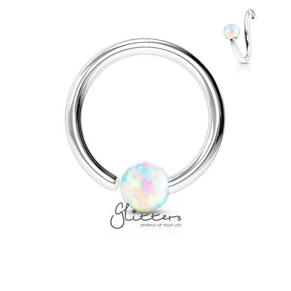 316L Surgical Steel Opal Ball Fixed On End Hoop Ring-Opal White-Glitters-New Zealand