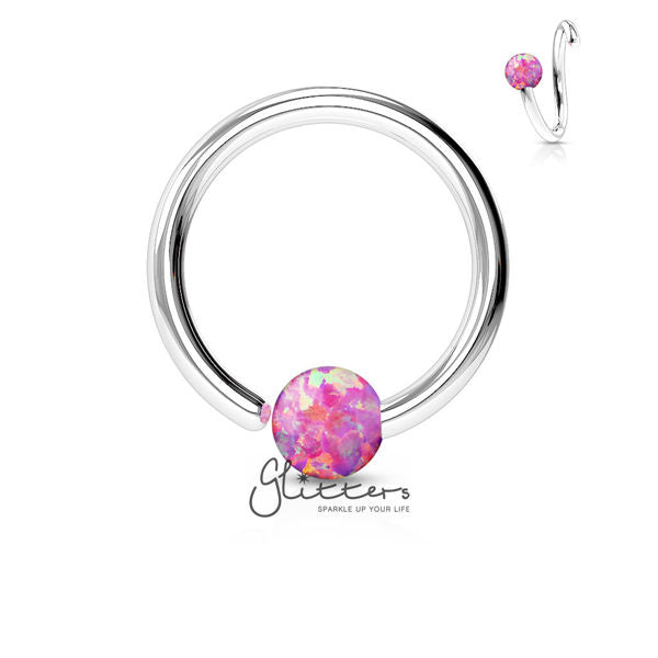 316L Surgical Steel Opal Ball Fixed On End Hoop Ring-Opal Pink-Glitters-New Zealand