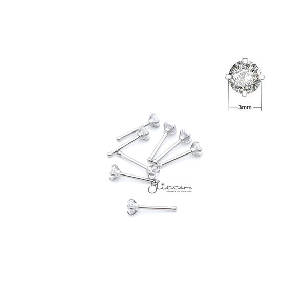 20 Gauge 316L Surgical Steel Prong Set 3mm Round C.Z Nose Pin Stud-Glitters-New Zealand