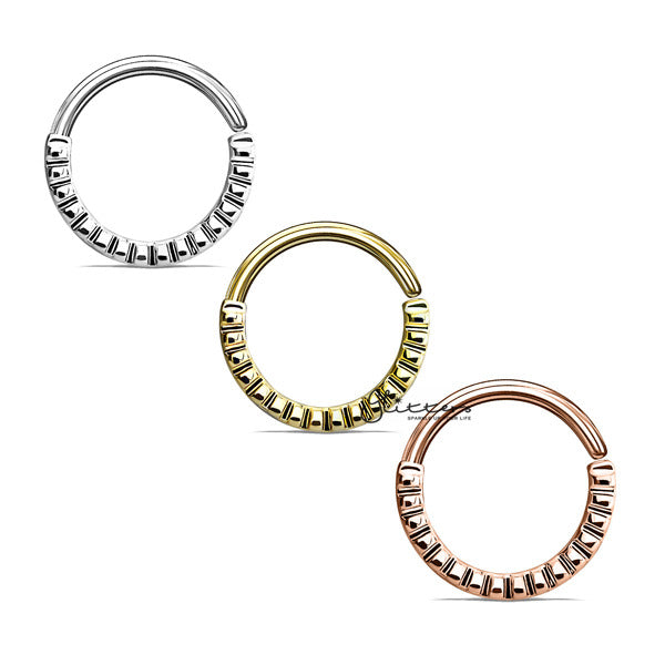 Grooved Half Circle Bendable Nose Septum and Ear Cartilage Hoops-Glitters-New Zealand