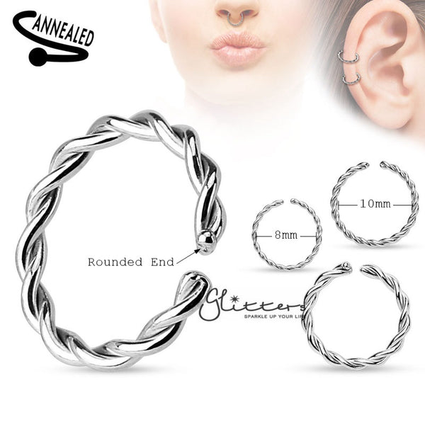 Braided Surgical Steel Annealed and Rounded Ends Nose Rings-Glitters-New Zealand