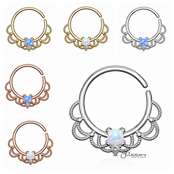 Opal Set Centered Filigree Bendable Hoop Rings for Nose Septum, Daith and Ear Cartilage