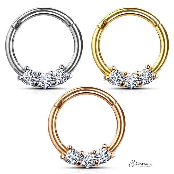 316L Surgical Steel 3-CZ Set Hinged Segment Hoop Rings-Glitters-New Zealand