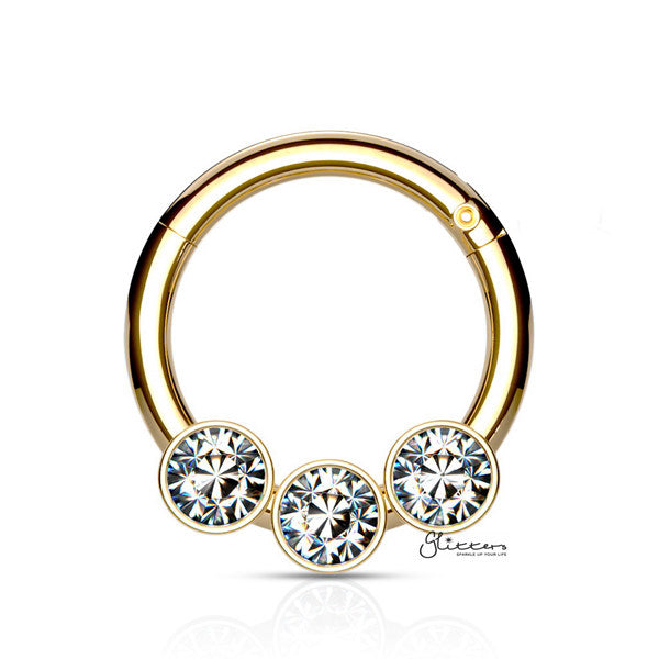 316L Surgical Steel Hinged Segment Hoop Ring with 3 Crystals - Gold - Glitters-New Zealand