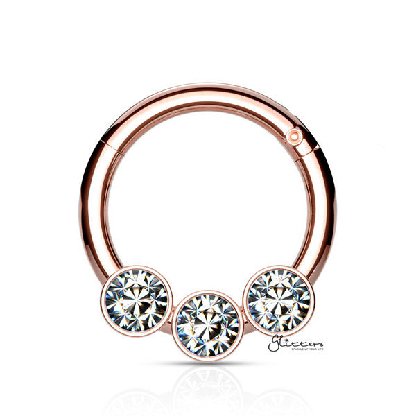 316L Surgical Steel Hinged Segment Hoop Ring with 3 Crystals - Rose Gold - Glitters-New Zealand