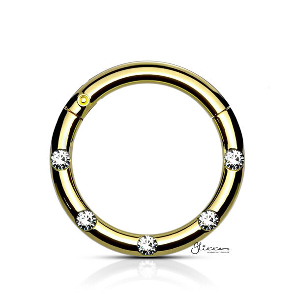 Surgical Steel Hinged Segment Hoop Ring with 5 Crystals - Gold-Septum Ring-Glitters