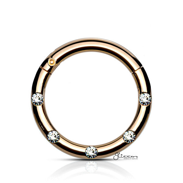 Surgical Steel Hinged Segment Hoop Ring with 5 Crystals - Rose Gold-Septum Ring-Glitters