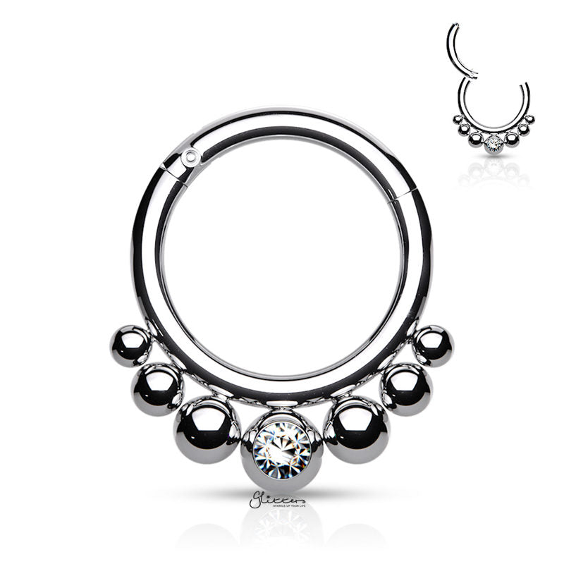 Graduated Balls and Bezel Set Crystal Center Segment Hoop Ring - Silver-Septum Ring-Glitters