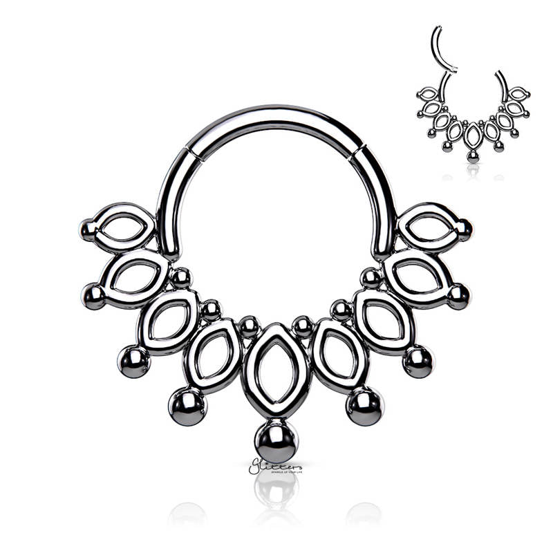 Beaded End Crown Hinged Segment Hoop Ring - Silver-Septum Ring-Glitters