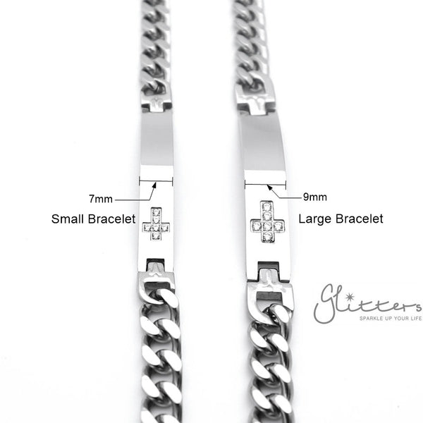 Stainless Steel Men's ID Bracelet with Cubic Zirconia Cross + Engraving
