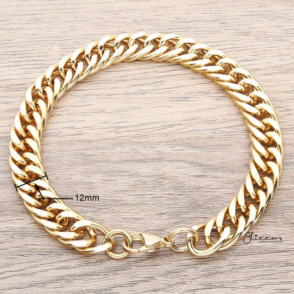 18K Gold I.P Stainless Steel Curb Link Chain Bracelet - 12mm Width-Glitters-New Zealand
