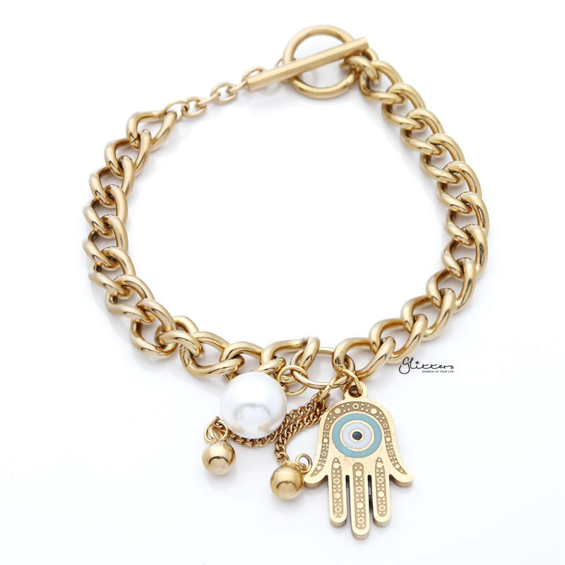 Stainless Steel Women's Bracelet with Dangle Hamsa Charms - Gold-Bracelets-Glitters
