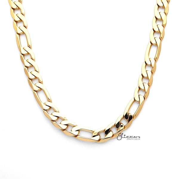18K Gold I.P Stainless Steel Figaro Chain Men's Necklaces - 9mm width | 61cm length-Glitters-New Zealand